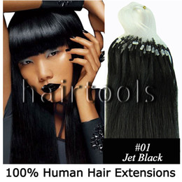 Wholesale 100S quot quot Micro rings loop hair remy Human Hair Extensions Jet Black mix s set