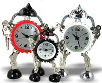 Wholesale Robot Alarm Clocks Quartz Metal Transformers Gear Analog Table Home Decoration Children Kids Gifts