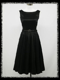 Wholesale Generous Simple Black Tea Length Cocktail Dresses Boatneck A line Sleeveless Satin LF1038