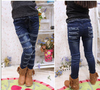 Wholesale Children jeans Girls Cowboy Pants BRUSHED Shitsuke Kids Jeans trousers autumn spring Kids apparel