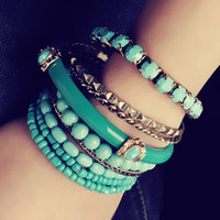 Wholesale Fashion Boximiya sea wind Relaxed and blue beads multilayer bangle women bracelets