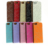 Wholesale Nice Protable iPhone PU Leather Diamond Flower Cover Skin Sample in Many Colors