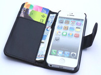 Leather For Apple iPhone  Wallet case ID credit card pouch PU leather skin Hard Plastic back cover case For iphone 5 case