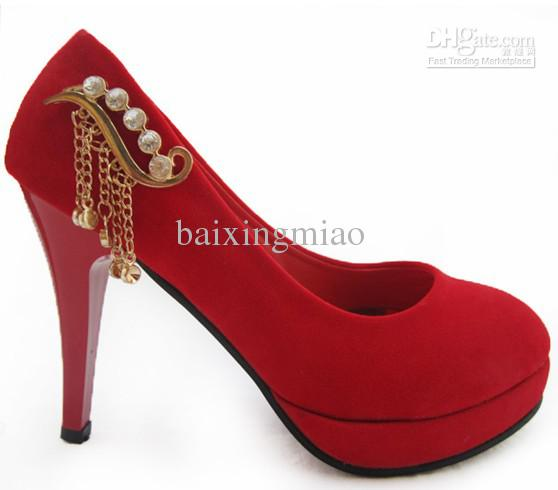 Wholesale - 2013 Women Prom Shoes Dress Single Shoes Red High Heels