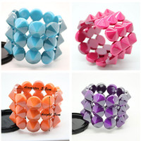 Wholesale Seven Colors Punk Style Bangles Fluorescent Colorful Rivets Incredible Three Stretch Bracelets