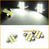 Wholeasale 500pcs / lot blanco 31m m 5050 6SMD coche Festoon Dome LED bombillas, tiempo de larga vida