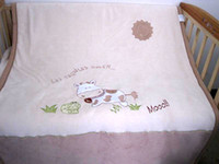Wholesale New Baby Cot Blanket High Qulity Double Layers Embroidered Calf Cow Frog Sun Brown Yellow Blue