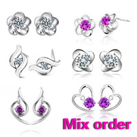 Wholesale FASHION Jewelry Mix order sterling silver shinning stud earring jewelry silver jewelry