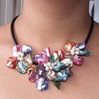 Wholesale New Arrive Christmas Jewelry inch AA4 MM Multicolor Shell Mop Flower Freshwater Pearl Necklace