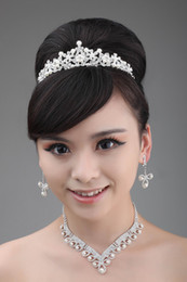 Wholesale Cryatal Empire Crown A Set Necklace Pearl Earings Waterline Bride Jewelry Accessories Wedding
