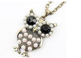 Wholesale 20pcs pearl antique fashion vintage owls necklace coat chain sweater chain