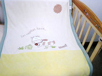 Wholesale New Calf Cow Baby Blanket Coral Velvet Double Layers Embroidered Cartoon Carpet for boy girl Mix
