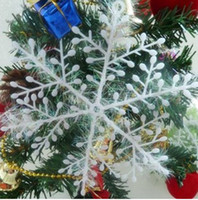 Unisex plastic ornament - 180pcs White Plastic Christmas Snowflake Sheet Ornament Merry Xmas Tree House Decoration Shining
