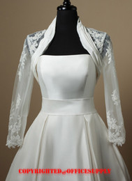 Wholesale beaded ivory Lace Bridal Wraps amp Jackets with Long sleeves A010