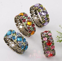 Wholesale New Mic Antiqued Bronze Plated Rhombus Crystal Rhinestone Bohemia Flower Bracelets
