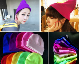 Wholesale Knit Snow Hat - 2014 Stylish Men women fluorescent neon cap knitwear winter knitted hat snow caps BBOY BIGBAND hats drop shipping XMAS lovely GIFT