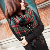 Wholesale British Style Women Big Scarf with Fringe Winter Fleece Warm Plaid cm Green Orange