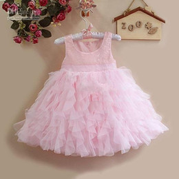 Wholesale CLEARANCE OFF LAST baby girl kids sequin dress princess dress pettiskirt tutu skirt lace dress ruffles layers birthday