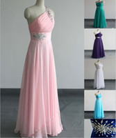One-Shoulder prom dresses 2012 - New Prom Dresses One shoulder Chiffon Sheath Formal gown Evening Dress SIZE