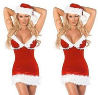 Wholesale One size Sexy Lingerie v collar Santa claus Costume christmas uniform party dress DS clothing