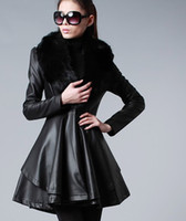 Women leather trench coat - 2014 New woman s fashion Dust coat High copy foxfeather Lady s trench coats