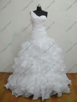 sexy wedding dresses - HOT Saling Sexy Sweetheart Organza Chapel Train white sleeveless Wedding Dresses Bridal Gown Real Images GXG306