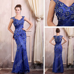 Dark Blue Mother of the Bride Dresses Mermaid Satin Tulle Floor Length Embroidery Real Actual Image
