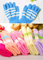 Wholesale Best Warm Winter Gloves Classic Thick Stripes colorful Toweling Five finger Gloves for winter