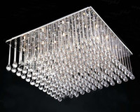 Fluorescent 110V Surface mounted Modern Square Silver K9 Crystal Chandelier Restaurant Hotel Living Room Ceiling Lamp Length 80cm*width 80cm