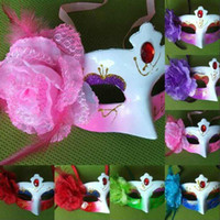 Bauta Mask rhinestone mask - Hot Sale Halloween Red Rhinestone Mask Side Flower Mask Lady Party Masquerade Masks Show Gift