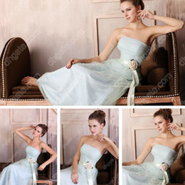 A-line Strapless Light Blue Tulle Chiffon Bridesmaid Dress Flower Floor Length Real Actual Images Dhyz 01