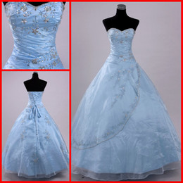 Wholesale 2016 Sweet light skyBlue Sweetheart Organza Crystals Beads Quinceanera Dresses Prom Evening Dress Gown Formal Gowns