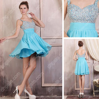 Wholesale 2015 Luxury Rhinestones Cocktail Dress Spaghetti Strap Densely Upper Beaded Real Actual Images