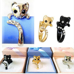 Animal Cat Ring Crystals Kitten Free Size Free Gift Box Kitty Free Shipping LM-R001