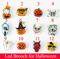 Wholesale Hot Sale Halloween LED Flashing Light Breastpin Brooch Pumpkin Ghost Witch Skull Gift Party
