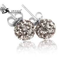 Wholesale Handmade Silver Earrings Shining Crystal Beads Earrings With Silver Needle mm Clay Ball Earring