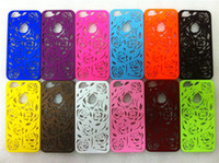 Wholesale Hollow Out Rose Flowers Colorful Plastic Back Cover Case for iphone mix order
