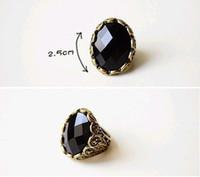 Women's Alloy Band Rings Fashion retro Carving Black stones ring,black rings 17.5mm KJ0141036