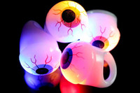 Wholesale Halloween Led Flash Ring Finger Lights Eyeball PUNK Eye Veins Party Bar Gift Toy V3610