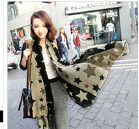 Wholesale Super contrast color the stars silk scarf in South Korea qiu dong wraps