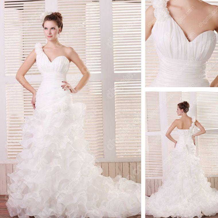 2015 sexy fit n flare ruched wedding dresses organza for Fit and flare ruched wedding dress