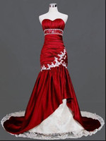 Wholesale 2012 New Style Mermaid Red And White Strapless Wedding Dresses Chapel Train Beaded Bridal Gowns