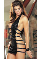 Wholesale lingerie The foreigners Hot exposed side of sexy black patent leather working girl games clothes