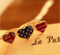 Wholesale Fashion ring jewelry USA National Flag Heart Double Ring KJ1148