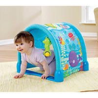 Wholesale P5331 Original Fisher Price Ocean Wonders Kick and Crawl Gym Baby Play Mat Game Mat Can use For Tent