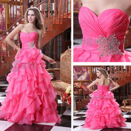 Wholesale 2015 Gorgeous Sweetheart Evening Party Robes A line Layered Ruffles Peach Red Real Real Images
