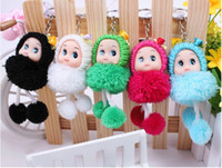 Wholesale Cute Plush Baby dolls girl dolls moblie Pendant creative kids toys CM mixed color Christmas gift