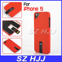 Plastic For Apple iPhone  Plastic Cases For iPhone5 iPhone 5 5th 5S Hard Ultra Slim Cover With Detachable 4GB USB Flash Drive