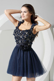 Wholesale Actual Image Navy Blue Tulle Apppliqued Mini New Elegnat Homecoming Dresses Short Prom Dress
