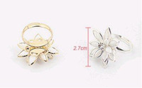 Wholesale Fashion Exquisite Noble Cute Lotus Flower Sweet Ring Adjustable KJ0521015 silver